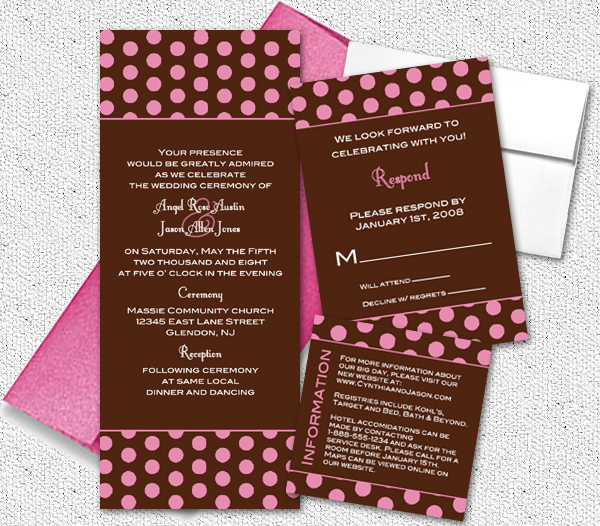Brown and pink wedding invitations certified bride chilla stopboris Choice Image