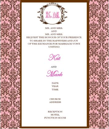 Brown and pink wedding invitations certified bride chilla one for the main invites second is for the wedding party names of entourage and last is for the rsvp stopboris Image collections